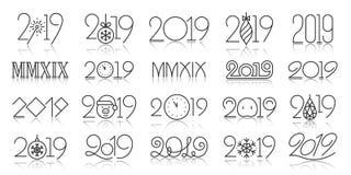 ligne noire simple ensemble de 2019 ans de vecteur d'icônes illustration stock