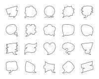 Ligne noire simple ensemble de bulle de la parole de vecteur d'icônes illustration stock