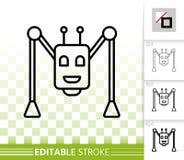 Ligne noire simple icône d'araignée de robot de vecteur illustration stock