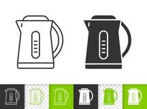 Ligne noire simple icône de bouilloire électrique de vecteur illustration stock