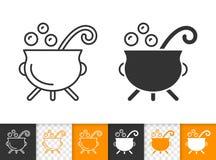 Ligne noire simple icône de chaudron de sorcière de vecteur illustration stock