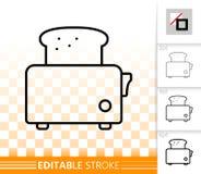 Ligne noire simple icône de grille-pain de pain de vecteur illustration de vecteur