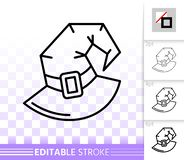 Ligne noire simple icône de Halloween de chapeau de sorcière de vecteur illustration libre de droits