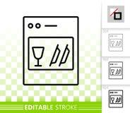 Ligne noire simple icône de lave-vaisselle de vecteur Images stock