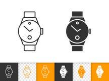 Ligne noire simple icône de montre-bracelet de minuterie de vecteur illustration de vecteur