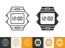 Ligne noire simple icône de montre-bracelet de vecteur illustration libre de droits