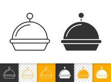 Ligne noire simple icône de plateau de nourriture de vecteur illustration libre de droits