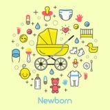 Ligne nouveau-née Art Thin Icons Set de bébé avec la voiture d'enfant Image libre de droits