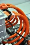 Ligne orange de pipe de couleur sur le matériel Photo stock