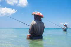Ligne pêcheurs photo stock