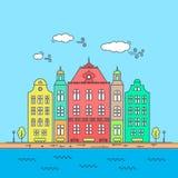 Ligne peu de ville Le paysage urbain linéaire avec de vieilles maisons urbaines, rue de petite ville avec des façades de bâtiment Images stock