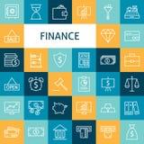 Ligne plate Art Modern Finance Money de vecteur et activité bancaire I Photographie stock