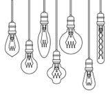 Ligne plate Art Retro Lamps Set de style Photo stock