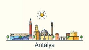 Ligne plate bannière d'Antalya Photo stock