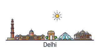Ligne plate bannière de Delhi illustration stock