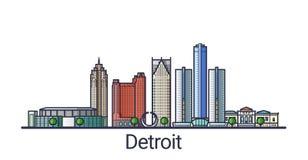 Ligne plate bannière de Detroit Images libres de droits