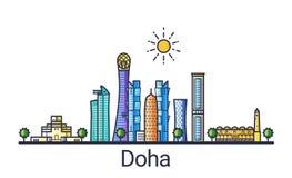 Ligne plate bannière de Doha Images stock