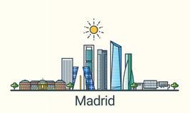 Ligne plate bannière de Madrid illustration libre de droits