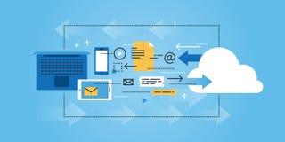 Ligne plate bannière de site Web de conception de nuage calculant, stockage de données Image stock