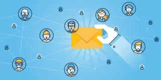 Ligne plate bannière de site Web de conception des services d'email, protection d'email, anti-malware APP Photos libres de droits