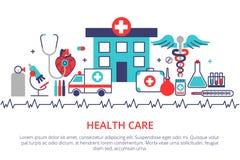 Ligne plate bannière de site Web de conception des soins de santé, de la clinique et du hospit illustration de vecteur