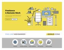 Ligne plate bannière de travail à distance Image stock