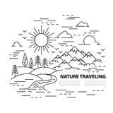 Ligne plate bannière de voyage de style Image libre de droits