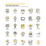 Ligne plate banques et finances d'icônes Photo libre de droits