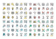 Ligne plate collection colorée d'icônes d'apprentissage en ligne Photos stock