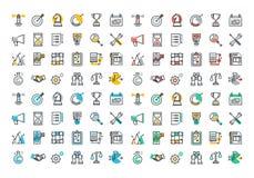 Ligne plate collection colorée d'icônes d'entreprise constituée en société Image libre de droits