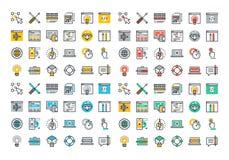 Ligne plate collection colorée d'icônes de web design et de développement