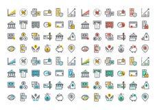 Ligne plate collection colorée d'icônes des opérations bancaires et des services bancaires en ligne Photos libres de droits