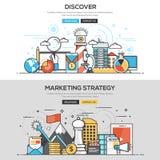 Ligne plate concept de conception - découvrez et stratégie marketing Photo libre de droits