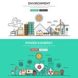 Ligne plate concept de conception - environnement et puissance et énergie Photo stock