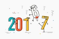 2017 ligne plate concept de construction pour la carte de voeux et la bannière Interprétation drôle de bande dessinée au 2016 sor Photos stock