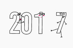 2017 ligne plate concept de construction pour la carte de voeux et la bannière Interprétation drôle de bande dessinée pour la réu Photos stock