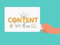 Ligne plate concept de contenu de mot de conception Remettez tenir le marketing numérique satisfait avec des icônes et des élémen Image stock