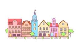Ligne plate concept graphique de conception, disposition d'éléments de site Web de ville d'Eco Images stock