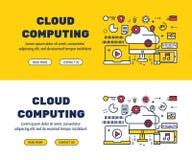 Ligne plate conception d'icônes du CALCUL et des éléments de NUAGE Images libres de droits