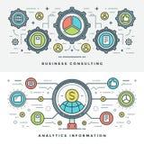 Ligne plate conseil en affaires et Analytics Illustration de vecteur Photographie stock libre de droits