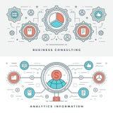 Ligne plate conseil en affaires et Analytics Illustration de vecteur Icônes linéaires minces modernes de vecteur de course Images libres de droits