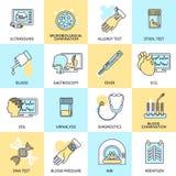 Ligne plate d'icônes d'examens médicaux illustration de vecteur