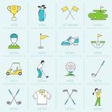 Ligne plate d'icônes de golf Image libre de droits