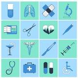Ligne plate d'icônes médicales Photographie stock libre de droits