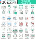 Ligne plate de couleur moderne de planification de projets de finances d'affaires de vecteur icônes d'ensemble pour des apps et l Photographie stock libre de droits