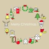 Ligne plate de design de carte de Noël et de nouvelle année illustration libre de droits