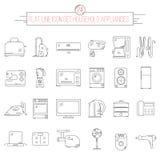Ligne plate ensemble d'icône de 24 appareils électroménagers d'article Image libre de droits