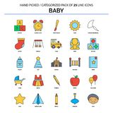 Ligne plate ensemble de bébé d'icône - les icônes de concept d'affaires conçoivent illustration de vecteur
