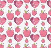Ligne plate fruit de pomme Delicious avec le modèle sain de coeur illustration stock