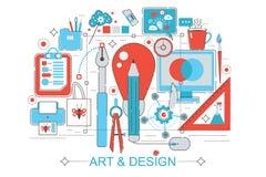 Ligne plate graphique moderne concept d'infographics de style de conception de la vision de conception avec des icônes, pour le s Photos libres de droits